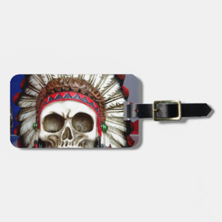 American Indian Skull With Feathers Luggage Tag