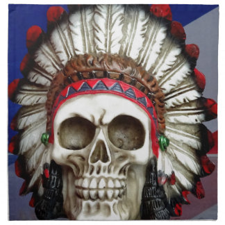 American Indian Skull With Feathers Napkin