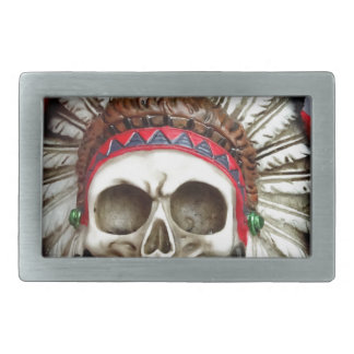 American Indian Skull With Feathers Rectangular Belt Buckle