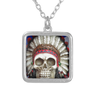 American Indian Skull With Feathers Silver Plated Necklace
