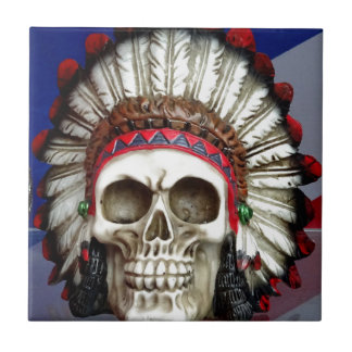 American Indian Skull With Feathers Tile