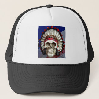American Indian Skull With Feathers Trucker Hat