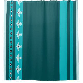 American Indian Thunderbird Striped Shower Curtain