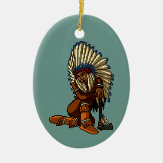 American Indian Woman Feather Tomahawk Pixel Ceramic Ornament