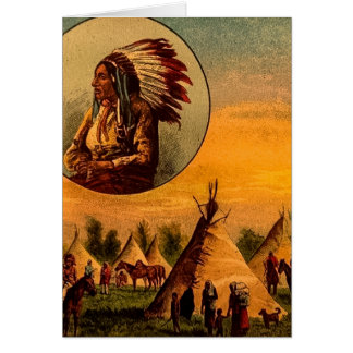 American Indians Vintage Magic Lantern Slide Card