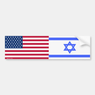 American & Israeli Flags Bumper Sticker