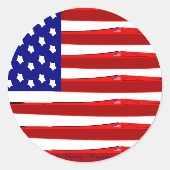 American Kayak Flag Classic Round Sticker