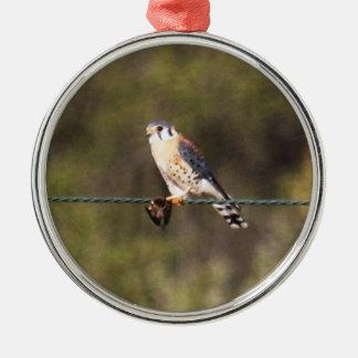 American Kestrel Silver-Colored Round Ornament