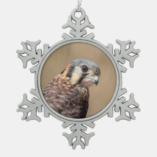 American Kestrel Snowflake Pewter Christmas Ornament