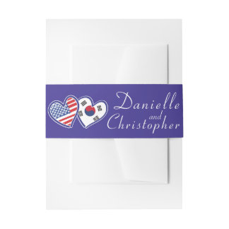 American Korean Love Belly Band Invitation Belly Band