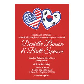 American Korean Love Wedding Invitation