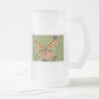 American Lady Butterfly Frosted Beer Mug