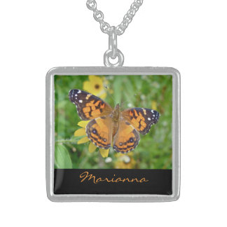 American Lady Butterfly Square Pendant Necklace