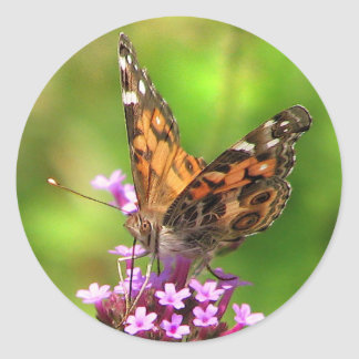 American Lady Butterfly Round Sticker