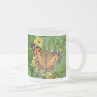 American Lady Butterfly - Vanessa virginiensis Frosted Glass Mug