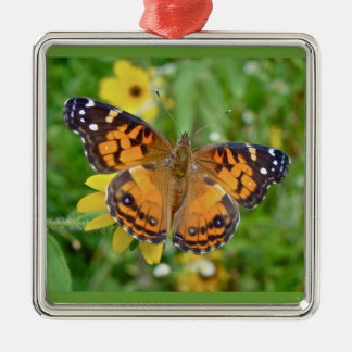 American Lady Butterfly - Vanessa virginiensis Silver-Colored Square Ornament
