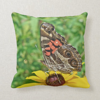 American Lady Butterfly - Vanessa virginiensis Throw Pillows
