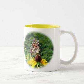 American Lady Butterfly - Vanessa virginiensis Two-Tone Coffee Mug