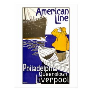 American Line Travel Poster Design Postcard