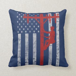 American Lineman Throw Pillow