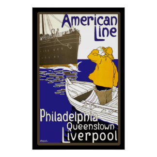 American Lines Sailor in Boat Meeting Liner Poster
