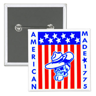 American Made 1775 Skull Flag Soldier 2 Inch Square Button