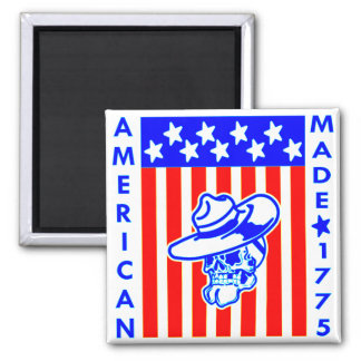 American Made 1775 Skull Flag Soldier Square Magnet