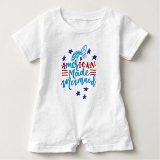 American Made Mermaid. Cute Sayings Baby Romper