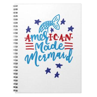 American Made Mermaid. Cute Sayings Spiral Notebook