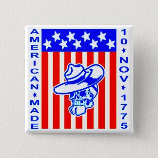 American Made Skull Flag 10 Nov 1775 2 Inch Square Button