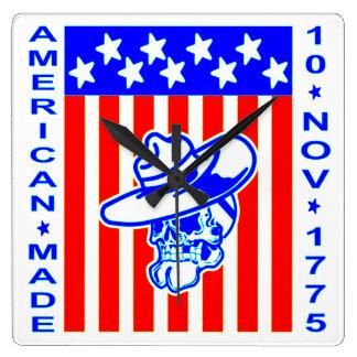 American Made Skull Flag 10 Nov 1775 Clocks