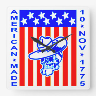 American Made Skull Flag 10 Nov 1775 Square Wall Clock