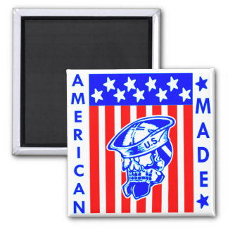 American Made Skull Flag Sailor Square Magnet