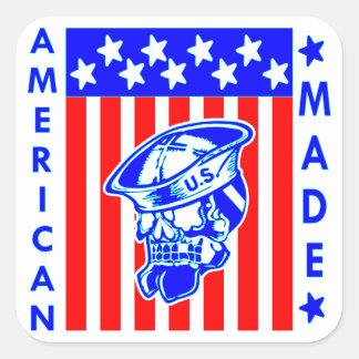 American Made Skull Flag Sailor Square Sticker