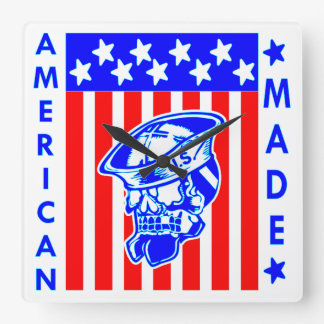 American Made Skull Flag Sailor Square Wall Clock