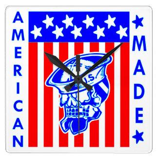 American Made Skull Flag Sailor Wallclock