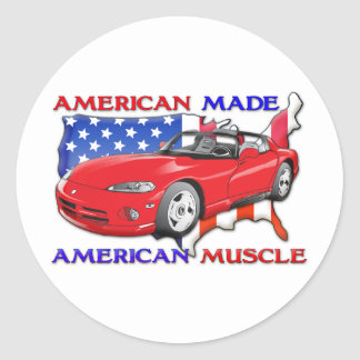 American Made Sports Car Classic Round Sticker