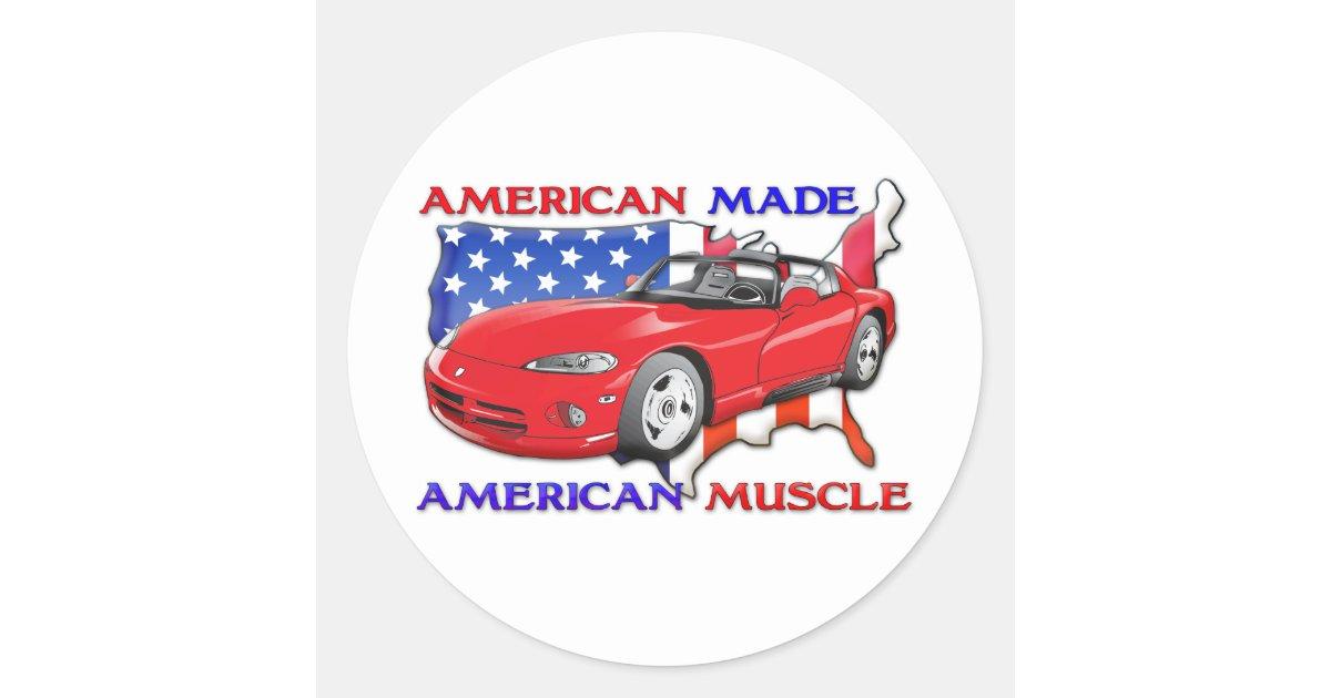 American Made Sports Car Classic Round Sticker | Zazzle.ca