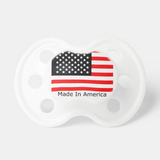 American  Made With USA Flag Baby Pacifiers