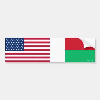 American & Malagasy Flags Bumper Sticker