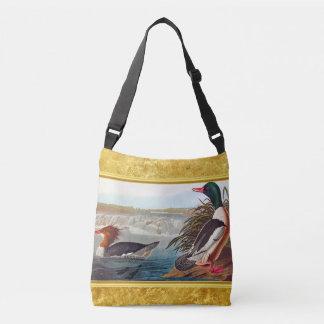 American mallard ducks in a river swimming crossbody bag
