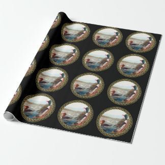 American mallard ducks in a river swimming wrapping paper