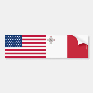 American & Maltese Flags Bumper Sticker
