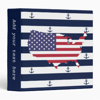 American map flag | nautical stripes pattern binder