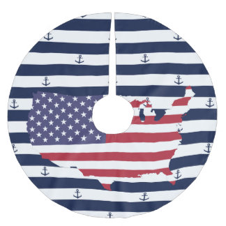 American map flag | nautical stripes pattern brushed polyester tree skirt