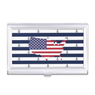 American map flag | nautical stripes pattern business card holder