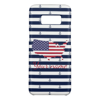 American map flag | nautical stripes pattern Case-Mate samsung galaxy s8 case