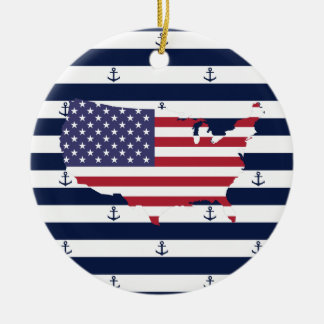 American map flag | nautical stripes pattern ceramic ornament