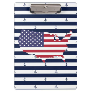 American map flag | nautical stripes pattern clipboard