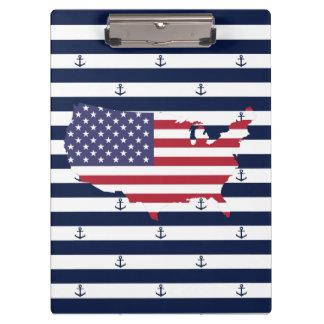 American map flag   nautical stripes pattern clipboard